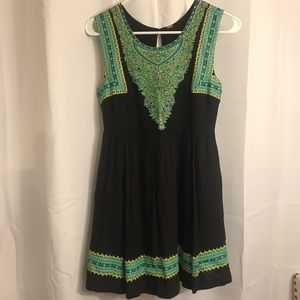 Free people black neon print dress size Small
